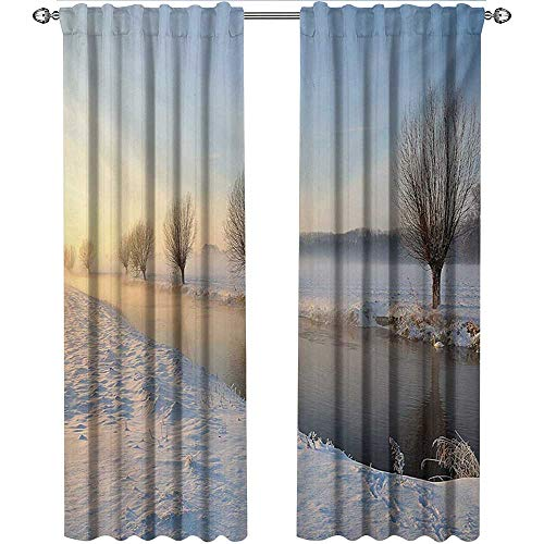 shenglv Winter, Curtains Unique, Snowy River Landscape Barren and Frosted Trees Dutch Netherlands Europe Photograph, Curtains for Sliding Glass Door, W84 x L84 Inch, Multicolor