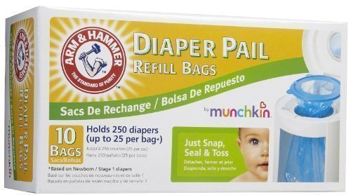 Munchkin Arm & Hammer Diaper Pail Refill Bags, 10-Count (Discontinued by Manufacturer) by Arm & Hammer