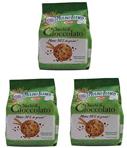 """Price comparison product image Mulino Bianco: """"Chicchi di Cioccolato"""" Biscuits with Chocolate and Oatmeal Barley - 10.58 Oz (300g) Pack of 3 [ Italian Import ]"""