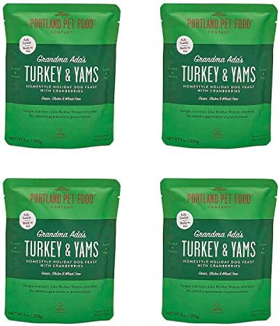 Portland Pet Food Company Grandma Ada's Turkey & Yams All Natural, Homestyle Dog Meal, Fully Cooked Microwavable Meal Pouches, Grain & Gluten-Free, USA Made, 4 Pack (4 x 9oz)