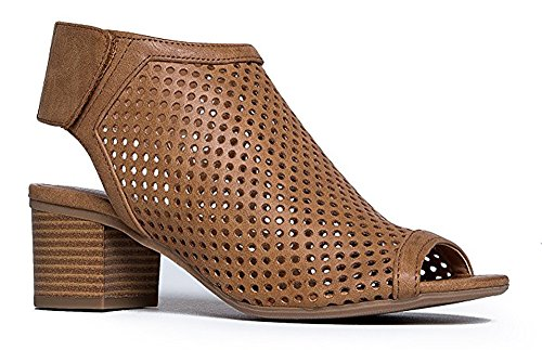 Roadway Tan Out Slingback Stacked Peep Leather Women's Cut Classified Toe r Faux Pu Heels Laser City qxvEOzHn