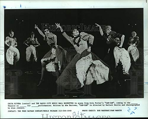 City Music Photos Hall Radio - Vintage Photos 1990 Press Photo Chita Rivera & Radio City Music Hall Rockettes in Can-Can.