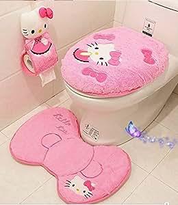 Pink Bath Mat And Pedestal Set