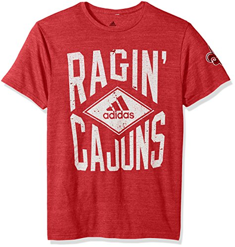 adidas NCAA Louisiana Lafayette Ragin' Cajuns Men's Diamond Mine Tri-Blend Short Sleeve Tee, Medium, Power Red