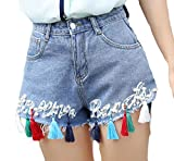 Pandapang Women Tassel Hip Hop Wide Leg Shorts Summer Beaded Mini Denim Shorts Light Blue Medium