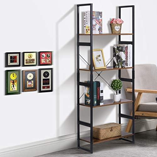 home, kitchen, furniture, home office furniture,  bookcases 5 picture KINGSO Industrial Ladder Shelf 4-Tier Shelves Bookshelf deals