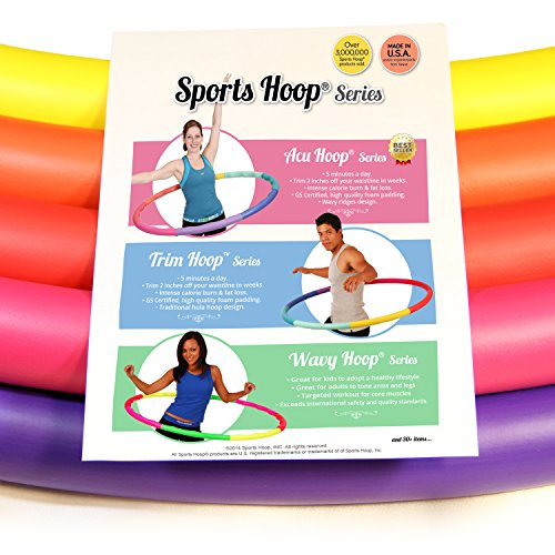 Sports Hoop Weight Loss Series: Trim Hoop 3B - 3.1lb (41 inches wide) Large, Weighted Fitness Exercise Hula Hoop with No Wavy Ridges (46 minutes Workout and Lesson DVD Included)