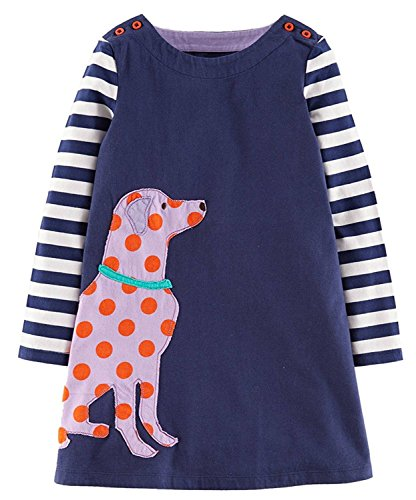 Girls Cotton Long Sleeve Casual Cartoon Appliques Striped Jersey Dresses (4T, Blue Dog)