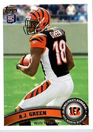 brand new 49b56 995b2 2011 Topps Football Card # 151 AJ Green RC - Cincinnati Bengals (RC -  Rookie Card) NFL Trading Card in a Protective Case!
