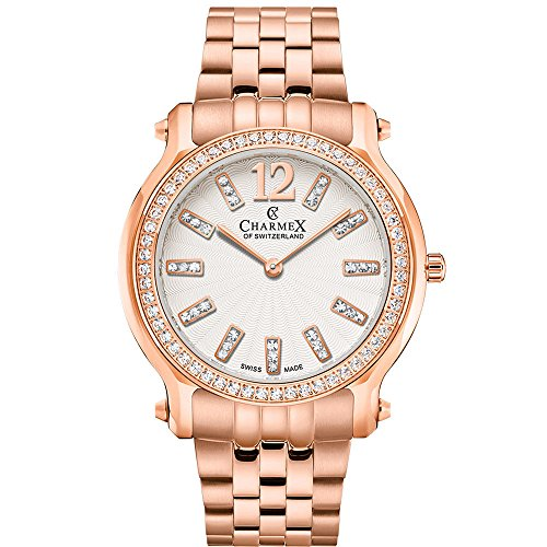 Charmex Women's EZE 31.5mm Rose Gold-Tone Steel Bracelet & Case Quartz White Dial Analog Watch 6345