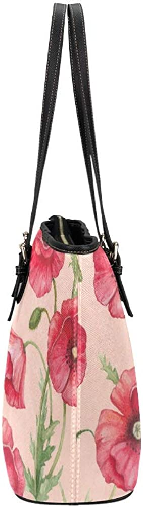Womens Shoulder Bag Red Retro Dangerous Flower Poppies Leather Hand Totes Bag Causal Handbags Zipped Shoulder Organizer For Lady Girls Womens Fashion Bags For Women