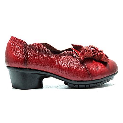 Scarpe Da Donna Socofy Scarpe, Blocco Di Pelle Scarpe Tacco Medio Vintage A Mano Fiore Passeggiate Allaperto Scarpe Casual Rosso