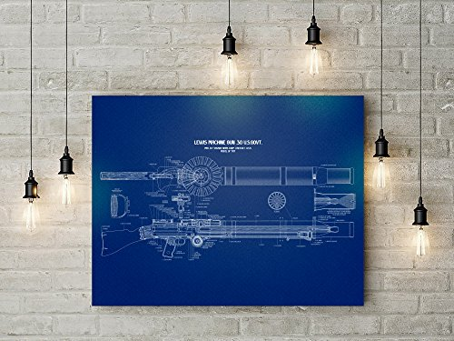 Lewis Machine Gun Wall Art Blue Poster - Large size 24x36 -