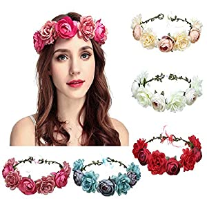 Silk Artificial Wreath Mommy & Kids Flower Headband Wedding Decoration Foliage Craft Wreath Fake Flowers Decorative 69