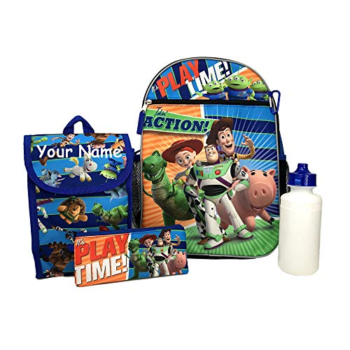 Personalized Disney Pixar Toy Story Backpack Book Bag Accessories and Lunch Bag with Water Bottle for Back to School - 5 Piece Set