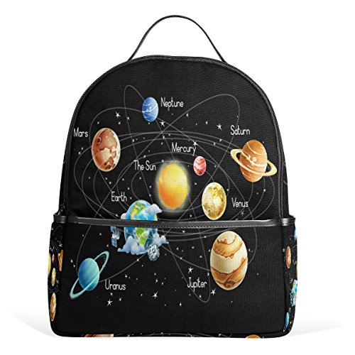 Use4 Solar System Space Planet Polyester Backpack School Travel Bag