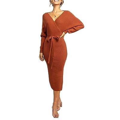 自有声 Spring Fall Winter Women's V Neck Sweater Dresses Batwing Long Sleeve Backless Bodycon Dress: Clothing
