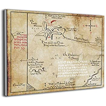 LP ART Canvas Print Wall Art Thorins Map Lord of The Rings Picture Painting for Kids Baby Bedroom Modern Home Decor Ready to Hang Stretched and Framed Artwork 16''x20''
