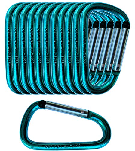 Gold Lion Gear 12 Pack - 3 Teal Aluminum Carabiner D Shape Buckle Pack, Keychain Clip, Spring Snap Key Chain Clip Hook Buckle (Teal 3 (12 Pack))