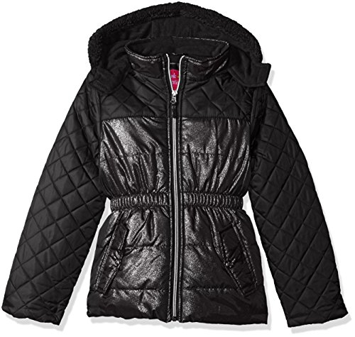 Pink Platinum Girls Quilted Puffer Jacket Mixed Spray Foil