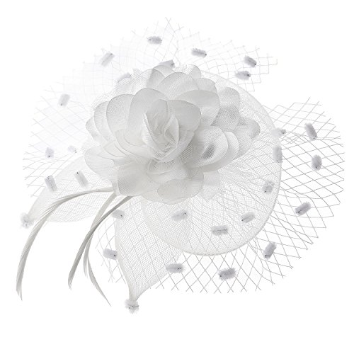 Cocktail White Top Hat Headband (Coolwife Womens Fascinator Veil Flower Cocktail Tea Party Headwear (White))