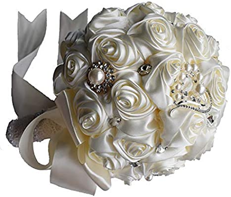 Adcorner Wedding Artificial Flowers Artificial White Roses Elegant