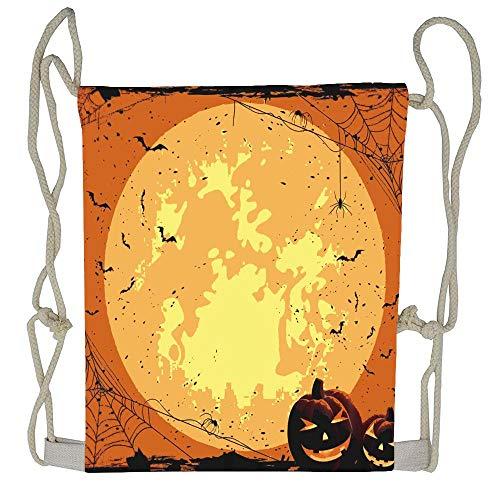 (WATINCFlagHomegg Jianyue Halloween Full Moon Pumpkin Drawstring Bag Men Womens Gym Backpack Vintage Mens Travel Small Bags For Youth)