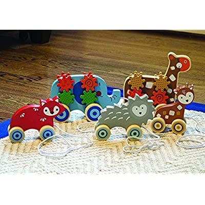 Applesauce 98406 Wooden Pull Toys Infant Development Educational Baby Toys (Giraffe), Brown: Toys & Games