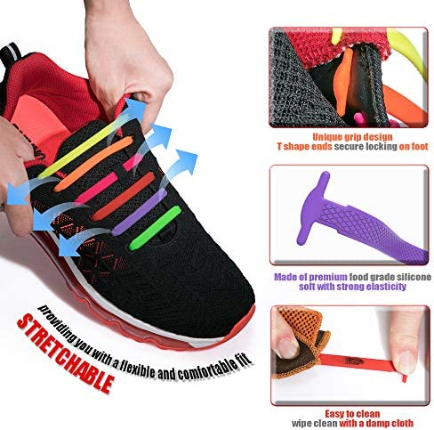 HOMAR No Tie Shoelaces for Kids and Adults  Best in Sports Fan Shoelaces  Stretch Silicone Elastic