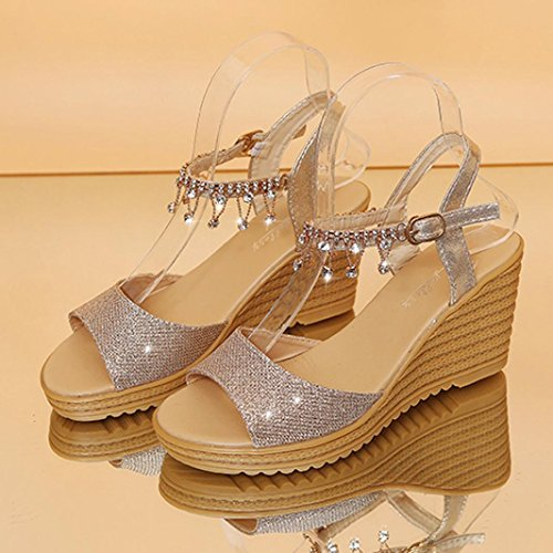 Ankle Size Outdoor Studded Wide Sparkly Wedge Fit Diamante Slingback 2 High 6 Peep Heel Womens Gladiator Gold Toe Glitter Lolittas Sandals Platform Strappy Pantshoes nCRwPOUnq