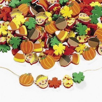 Fun Express 500 Fabulous Foam Thanksgiving Harvest Mix Bead Assortment - Turkey Fall Leaves Pumpkin Art & Craft Supplies & Kids' Beading Supplies by FE