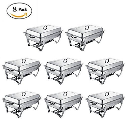 Happybuy 8 Pcs Chafing Dish Stainless Steel Chafer 8 Quart Chafers for Catering Full Size Rectangular Chafing Dishes Buffet for Party by Happybuy