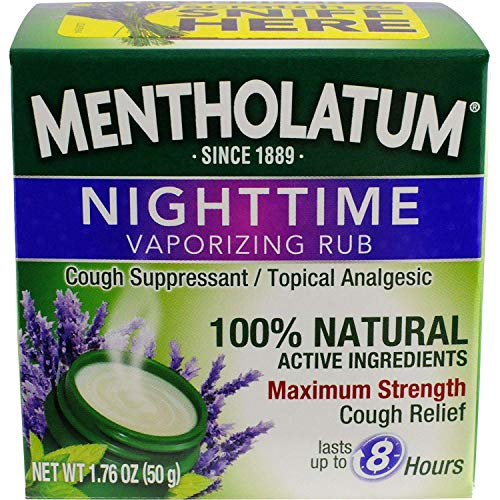 (Mentholatum Nighttime Vaporizing Rub with soothing Lavender essence, 1.76 oz. (50 g) - 100% Natural Active Ingredients for Maximum Strength Cough)