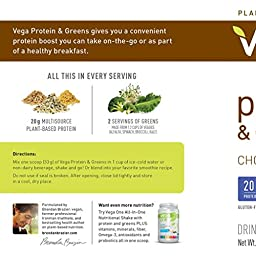 Vega Protein & Greens Plant Based Protein Powder, Chocolate, 1.79 lb (25 Servings)