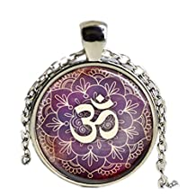 Om Necklace Yoga Jewelry Purple Lotus Flower, Om Symbol, Buddhism Necklace, Zen Art Pendant