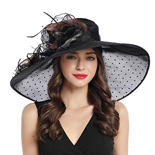 Women's Organza Church Derby Fascinator Cap Kentucky Tea Party Wedding Hat (Black Dot)