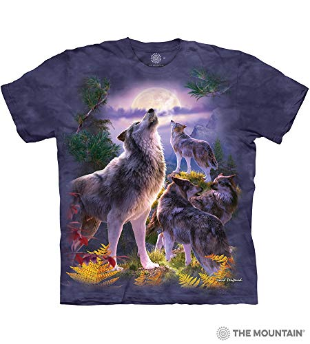 (The Mountain Wolfpack Moon Adult T-Shirt, Blue and Purple, Small)