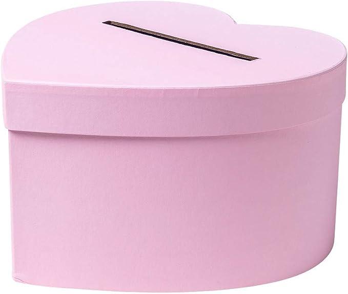 Urne - Caja de cartón con forma de corazón rosa (25 cm): Amazon.es: Hogar