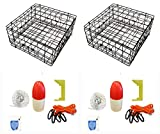 """6. KUFA Vinyl Coated Crab Trap Accessory Kit (100' Non-Lead Sinking Line, Clipper, Bait Bag 14"""" Float) (2 Pack)"""