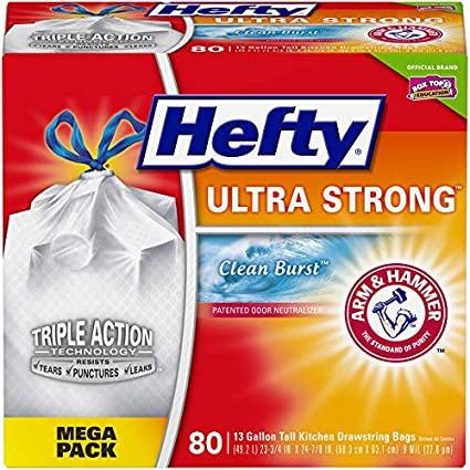 Hefty Ultra Strong Tall Kitchen Trash Bags Clean Burst 13 Gallon 80 Count