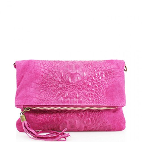 Snakeskin Over Messenger Shoulder Ladies Womens Bag Shoulder Leather Crossbody Fuchsia Bag Bag Designer Clutch Bag 5RHZYwq