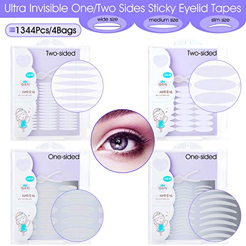 INS 1344Pcs/4Pack Ultra Invisible One/Two Side Sticky Double Eyelid Tape Stickers, Medical Fiber Eyelid Lift Strip, Instant Eyelid Lift Without Surgery, Perfect for Hooded, Droopy, Uneven, Mono-eyelid (Eyelid Surgery Lift)