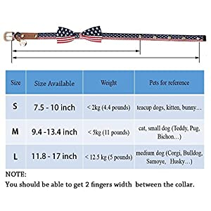 American Flag Nylon Dog Collar with Bow Tie - Patriotic, US Flag Pattern, Star & Stripes, Fourth of July Dog Collar, Adjustable for Small Medium Large Breeds Dog - Collar,L