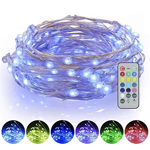 ALOVECO Dimmable String Lights, 16ft 50 LED Battery Powered Multi Color Changing String Lights with Remote, 13 Individual Colors Starry Fairy String Lights for Bedroom,Garden,Christmas, Party