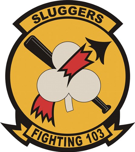 Magnet US Navy VF-103 'Fighting 103 Sluggers' Patch Military Veteran Served Vinyl Magnet Car Fridge Locker Metal Decal ()