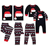 Family Matching Christmas Pajamas Christmas Hat Long Sleeve Tops Reindeer Print Pants Sleepwear Set Parent-Child Xmas Homewear (Medium, Dad)