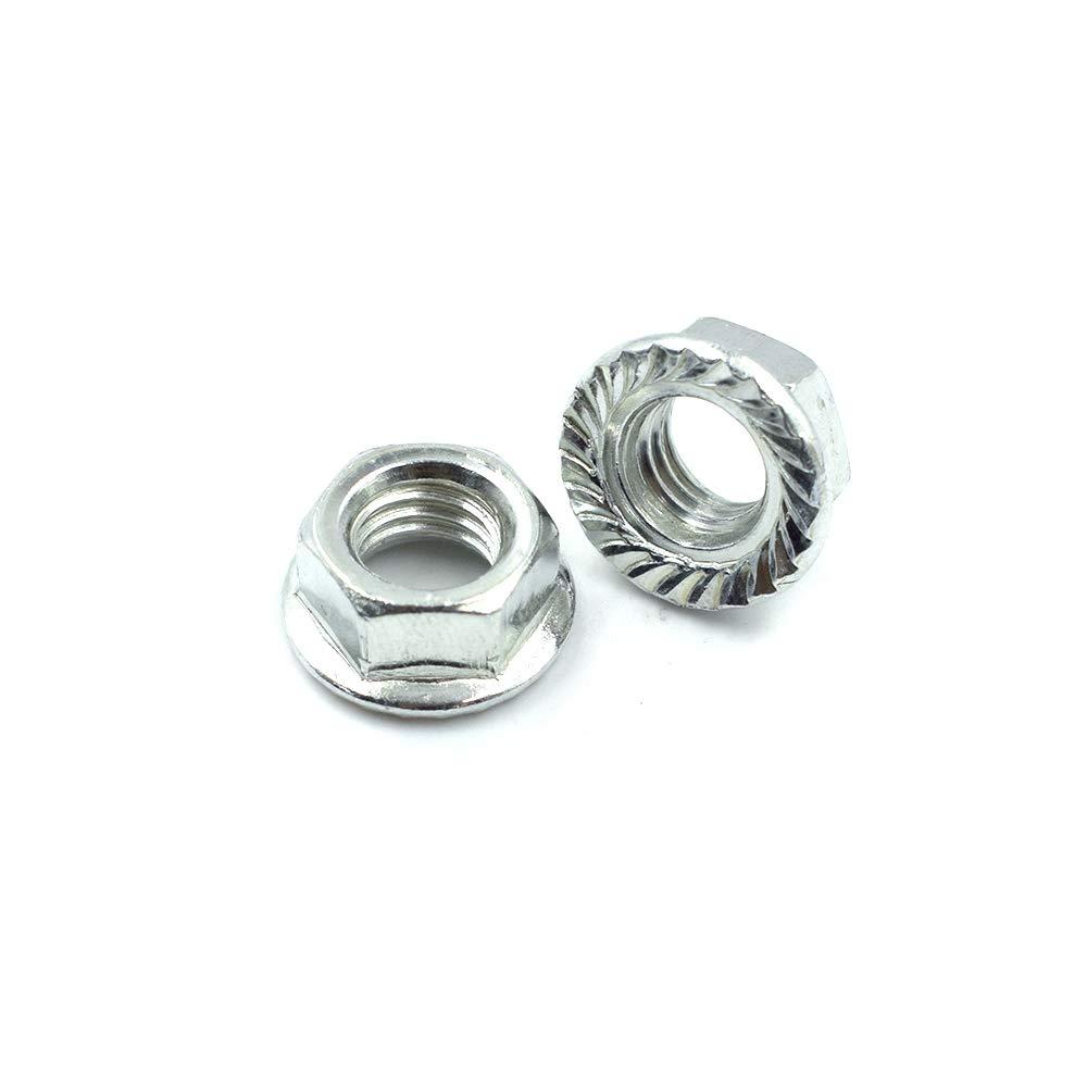 Cyful M8 Serrated Hex Flange Nuts Locknuts Zinc Plated-50PCS