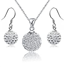 18 ct White Gold Plated White Disco Ball Crystals from Swarovski Set Necklace Earrings Solid Silver S925 Pendant and Earrings