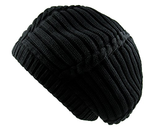 - RW 100% Cotton Classic Rasta Slouchy Ribbed Beanie Hat (Black)