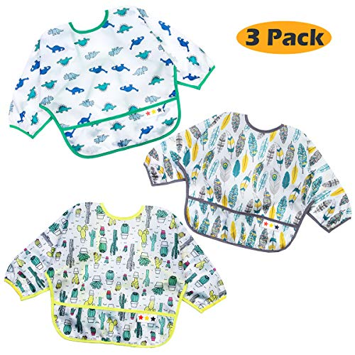 Baby Bibs Waterproof for Boys and Girls 6-24 Months, Long Sleeved Bib with Pocket Bundle, Unisex 3-Pack Toddler Bibs, Stain and Odor Resistance Play Smock Apron
